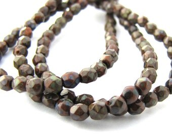Picasso Umber Brown 3mm Facet Round Czech Glass Fire Polished Beads 50pc #2451