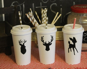 50 Reindeer deer head moose antler Chalkboard Labels for Hot cocoa chocolate bar Christmas party idea supplies decorations decor