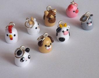 Polymer Clay Animal Charms - Miniature Clay Animals - Polymer Clay Charms - Your Choice Kawaii Animal  - Stitch Marker - Progress Keeper