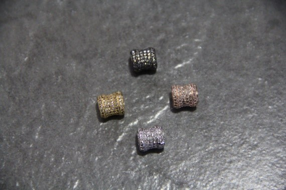 CZ Micro Pave 8x9mm Tube Big Hole  Beads