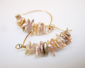 Small Keishi Pearl Oval Basket Hoops