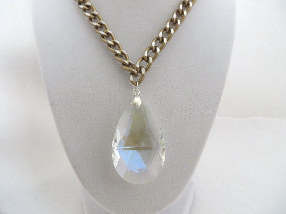 Celebrity Necklace Crystal Necklace Large Crystal Pendant Statement Necklace Gift Idea For Her Bling