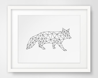 Geometric Fox, Fox Art, Fox Prints, Origami Art, Digital Download, Origami Prints, Fox Wall Art, Printable Art, Fox Wall Prints,
