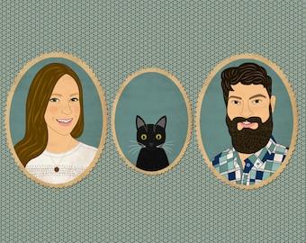 Custom portrait. Custom cartoon family portrait with pet. Bespoke illustration. Quirky Wedding portrait.