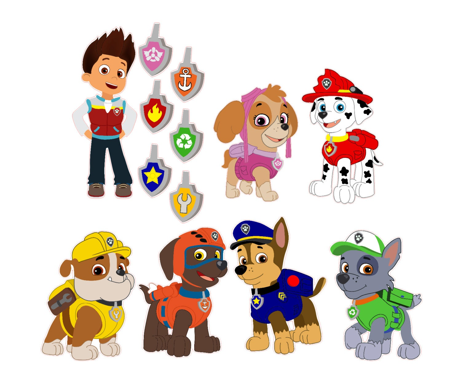 set of 7 paw patrol removable wall decal stickers with free. Black Bedroom Furniture Sets. Home Design Ideas