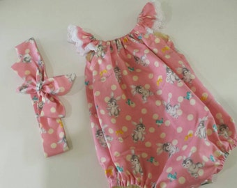 Sale - Baby Girl print romper onesie playsuit sunsuit with matching knot headband size 00 3-6 month