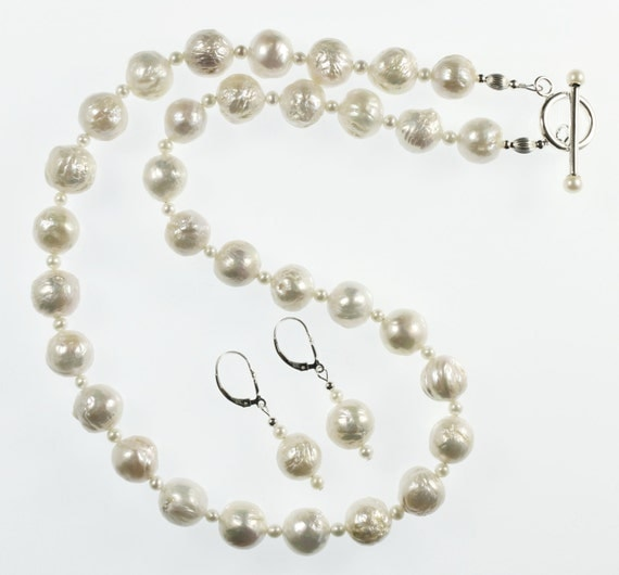 White Freshwater Blister Pearl Necklace & Earrings, Pearl Necklace, White Pearl Necklace