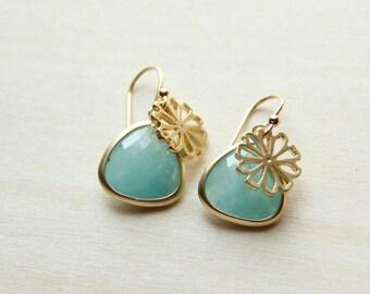 Amazonite flower earrings. Bridesmaids earrings