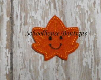 Smiling Happy Leaf felties, felt paper clip, badge reel, felt brooch, felt bookmark, planner clip, felt hair clip, key chain