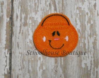 Pumpkin Trick or Treat Bucket felties, feltie, Thanksgiving, Halloween, Fall Harvest, Machine embroidered,felt applique, embellishment