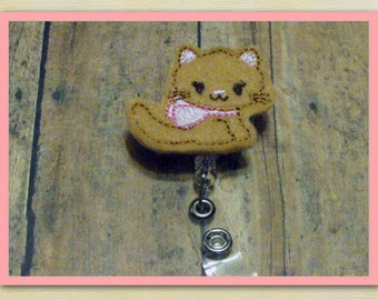 Tan Kitty Cat with Bow felt badge reel, name badge holder, nurse badge, ID holder, badge reel, retractable badge clip, feltie badge reel
