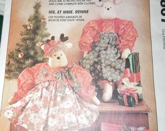 """Stuffed reindeer dolls, 32"""" high, craft supplies, UNCUT sewing pattern, McCalls 7867"""