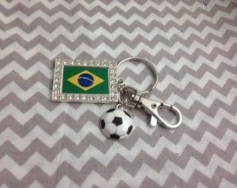 Brazil Soccer Flag Keychain