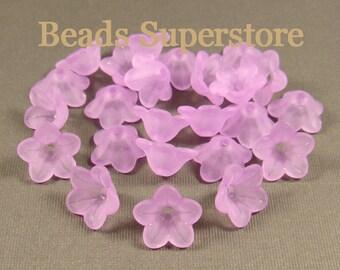 SALE 13 mm x 7 mm Violet Lucite Flower Bead - 20 pcs