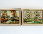 French Vintage Framed Small Pair Of Landscape Oil Paintings