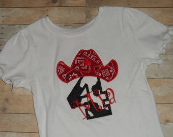 Toddler Cowgirl Shirt custom applique birthday red bandana 12 18 24 months 2t 3t 4t 5t