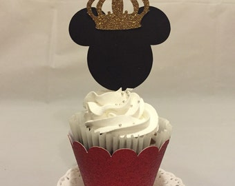 Prince Mickey and Princess Minnie cupcake toppers