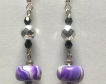 Purple earrings, Violet earrings, Glass earrings, Silver earrings, Earrings, Homemade jewelry, Homemade earrings, Dangle earrings, Long