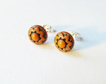 Burnt Orange Earrings, Orange Flower Jewellery, Rust, Etched Glass Earrings, vintage cabochon
