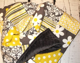Baby Minky Patchwork Quilt - Baby Girl Quilt - Baby Blanket - Minky Baby Blanket - Michael Miller Gray and Citron  Flowers Dots Stripes -