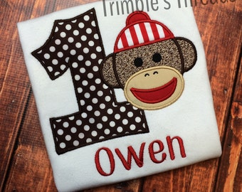 Sock Monkey Birthday Shirt / Applique Sock Monkey Shirt