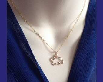 Gold Cloud Necklace - Puffy Cloud Necklace Not Plated Weather Necklace - Cloud Silhouette Cloud Jewelry - Cloud Outline - Open Cloud Charm