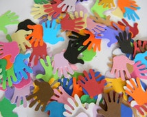 100 Mixed High Five hands die cuts -perfect for confetti,parties, scrapbooking,craft ideas, embellishments