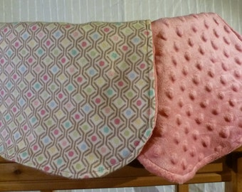 Burp cloth - pink minky and flannel