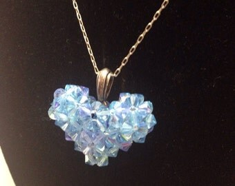 Light Blue Swarovski heart necklace