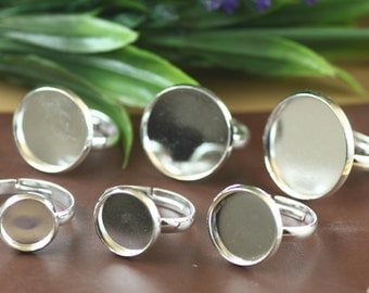 Silver tone circle cabochons rings blanks 10mm,12mm,14mm,16mm,18mm,20mm, adjustable retro rings blanks supplies D7147