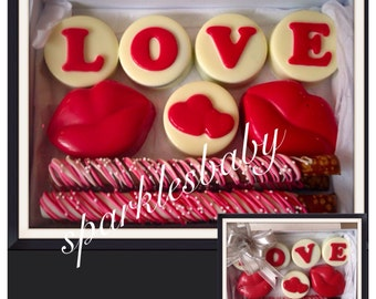 Valentine's Day Chocolate Covered Oreo and pretzel Gift box - Valentine's Day Chocolate Gift