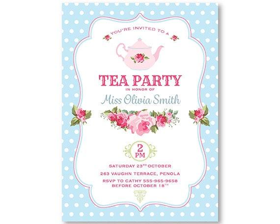 Tea Party Invitation Shabby Chic High Tea Flowers Rose Roses – Afternoon Tea Party Invitation