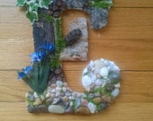 "E for Earth, 8-1/2"" Tall, Mosaic Letter made using items from Nature OOAK"