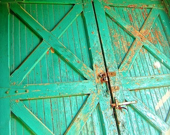 "8x10 Rustic Teal Barn Doors Industrial Photo, ""Rustic Teal"""