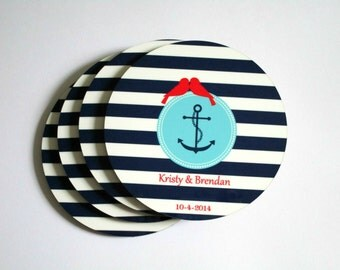 Nautical Wedding Coasters with Anchor - Personalized Wedding Gift - Anchor Drink Coasters - Nautical Wedding Decor, Favors - Bridal Shower