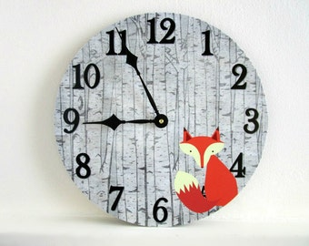 Fox Wall Clock - Woodland Nursery Wall Decor - Rustic Nursery or Baby's Room Decor - Unique Wall Clock - Baby Shower Gift