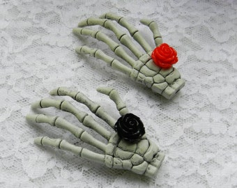 2 Skeleton Hand Hair Clips Black and Red Roses Pin Up Rockabilly Psychobilly Pastel Goth Zombies Horror Hair Clips