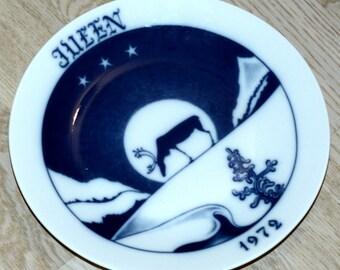 Vintage Christmas Scandinavian plate Collectible Christmas plate 1970s Blue white Christmas Wall plate Wall hanging