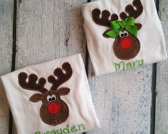Christmas Toddler shirt,  monogram outfit - One-sie, christmas  reindeer shirt - Toddler Baby personalized shirt,  owl baby  outfit