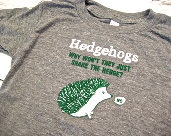 Cute hedgehog toddler shirt. American apparel shirt. Funny kids shirt. Gender neutral. Hand drawn.