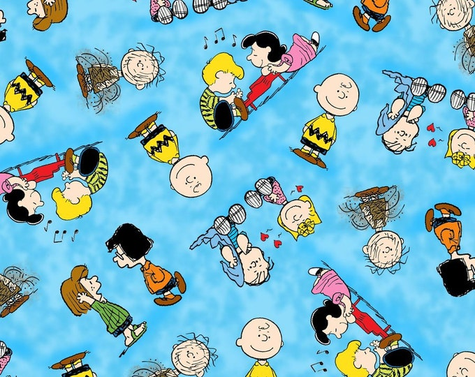 Half Yard Peanuts - Happiness Is... - Character Toss in Aqua Blue - Charlie Brown Cotton Quilt Fabric - Quilting Treasures - 22065-B (W2412)