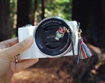 Camera Lens Cap Holder - Emerald Owl
