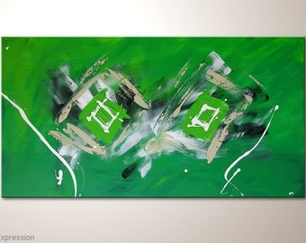 """Green fine art painting 43x24 inches: """"Expression"""" - abstract canvas art, wall decoration ready to hang, framed wall art. Abstract piece"""