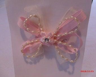 Pink Ribbon & Pearl Hair Clip