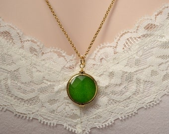 Green Jade, Gold  Necklace, Faceted Jade Gemstone, May Birthstone, Nepalese Jewelry, Emerald Green Jade, Gift for Jade Anniversary, N1334