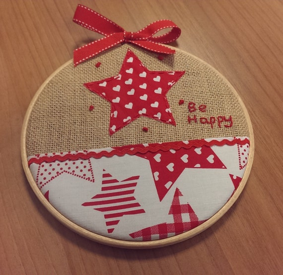 Christmas star on embroidery hoop gift by polychromo