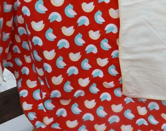 Birds Flannel Receiving or Swaddling Blanket, Double Layer, 2 Layer Serged Blanket, New Design, Crib or Stroller Blanket