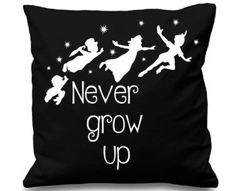 "Never grow up - Peter Pan inspired Cushion/pillow Cover - 16""x16"" (41cmx41cm)"