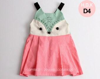 Girl's  dress/ Kid's sewing pattern pdf/Toddler/ suspender skirt / jumper skirt/ overall skirt/ fox face dress, sizes 2T-7years