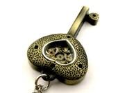 Valentines Day SALE Steampunk Key Locket Pendant Steampunk Resin Heart Key Steampunk gift idea
